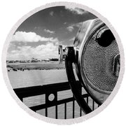 Round Beach Towel featuring the photograph The Viewer by Sennie Pierson