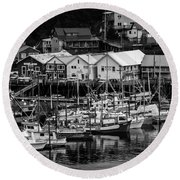 The Village Pier Round Beach Towel by Melinda Ledsome