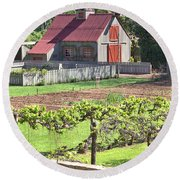 The Vineyard Barn Round Beach Towel