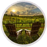 The Vineyard   Round Beach Towel