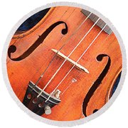 The Violin And The Memory Of Music In New Orleans Louisiana Round Beach Towel by Michael Hoard