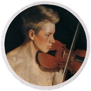 The Violinist Round Beach Towel by Celestial Images