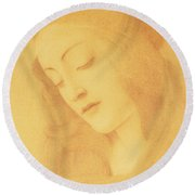 The Virgin After Botticelli Round Beach Towel