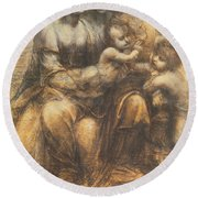 The Virgin And Child With Saint Anne And The Infant Saint John The Baptist Round Beach Towel
