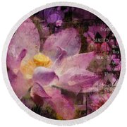Round Beach Towel featuring the digital art Those Virgin Lilies - Moore Quote  by Nola Lee Kelsey