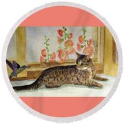 Round Beach Towel featuring the painting The Visitor by Angela Davies