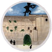 Round Beach Towel featuring the painting The  Western Wall And Fiddler On The Roof by Nora Shepley