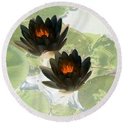Round Beach Towel featuring the photograph The Water Lilies Collection - Photopower 1040 by Pamela Critchlow