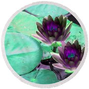 Round Beach Towel featuring the photograph The Water Lilies Collection - Photopower 1118 by Pamela Critchlow