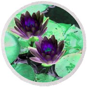 Round Beach Towel featuring the photograph The Water Lilies Collection - Photopower 1119 by Pamela Critchlow
