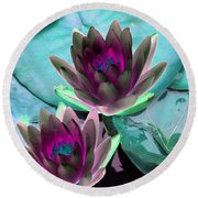 Round Beach Towel featuring the photograph The Water Lilies Collection - Photopower 1124 by Pamela Critchlow