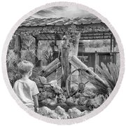 Round Beach Towel featuring the photograph The Watering Hole by Howard Salmon