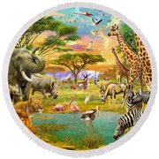 The Watering Hole Round Beach Towel