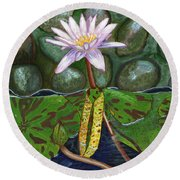 The Waterlily Round Beach Towel by Laura Forde