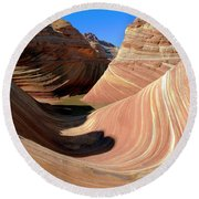 Round Beach Towel featuring the photograph 'the Wave' North Coyote Buttes 19 by Jeff Brunton