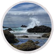 The Waves At Haystack Rock Round Beach Towel