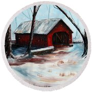 Round Beach Towel featuring the painting The Way Home by Meaghan Troup