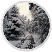Round Beach Towel featuring the photograph The Way In Snow by Felicia Tica