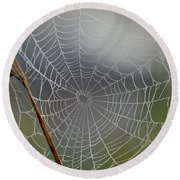 Round Beach Towel featuring the photograph The Web by Kerri Farley