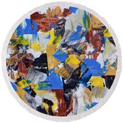 Round Beach Towel featuring the painting The Weekend by Heidi Smith