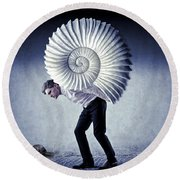 The Weight Of Life Round Beach Towel