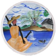The Welcome River Round Beach Towel