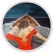 The Whims Of The Moon  Round Beach Towel by Lazaro Hurtado