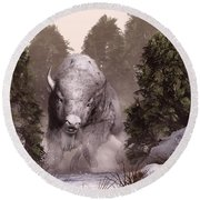 The White Buffalo Round Beach Towel