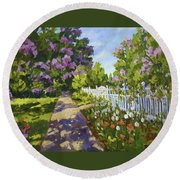 The White Fence Round Beach Towel