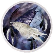 The White Raven Round Beach Towel by Carol Cavalaris
