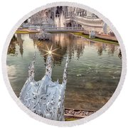 The White Temple Round Beach Towel