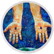 The Whole World In His Hands Round Beach Towel by Lou Ann Bagnall