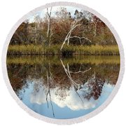 Round Beach Towel featuring the photograph The Winter Tree by Debra Forand