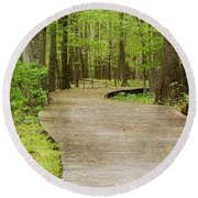 The Wooden Path Round Beach Towel by Patrick Shupert
