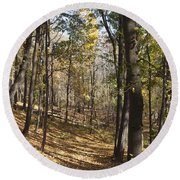 Round Beach Towel featuring the photograph The Woods by William Norton