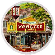 The Yangtze Restaurant On Van Horne Avenue Montreal  Round Beach Towel