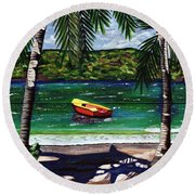The Yellow And Red Boat Round Beach Towel by Laura Forde