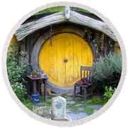 Yellow Hobbit Door Round Beach Towel