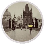 The Yellow Umbrella Round Beach Towel