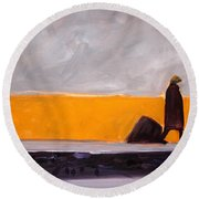 The Yellow Wall Round Beach Towel