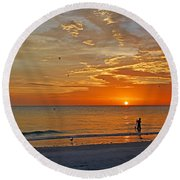 Round Beach Towel featuring the photograph The Young Fisherman by HH Photography of Florida