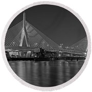 The Zakim Bridge Bw Round Beach Towel