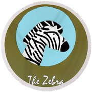 The Zebra Cute Portrait Round Beach Towel