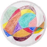 Round Beach Towel featuring the painting Theme Parks by Stormm Bradshaw