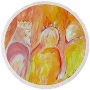 Round Beach Towel featuring the painting there I AM by Cassie Sears
