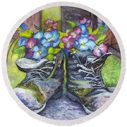 These Boots Were Made For Planting Round Beach Towel by Carol Wisniewski