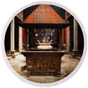 Round Beach Towel featuring the photograph Thien Hau Temple  by Lucinda Walter