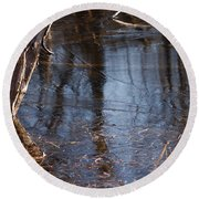 Thin Ice Of A New Day Round Beach Towel