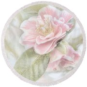 Think Pink Round Beach Towel by Peggy Hughes
