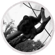 Round Beach Towel featuring the photograph Thinking Of You Black And White by Joseph Baril